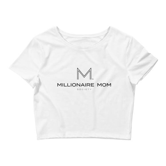 Millionaire Mom Society Women's Crop Tee-White - Go Go Gadget Outlet