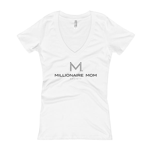 Millionaire Mom Society Women's V-Neck T-shirt-Front & Back-BLACK FONT