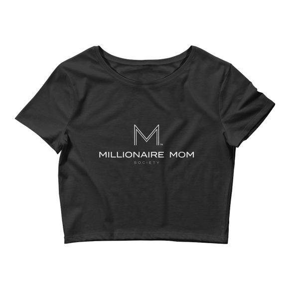 Millionaire Mom Society Women's Crop Tee-Black - Go Go Gadget Outlet