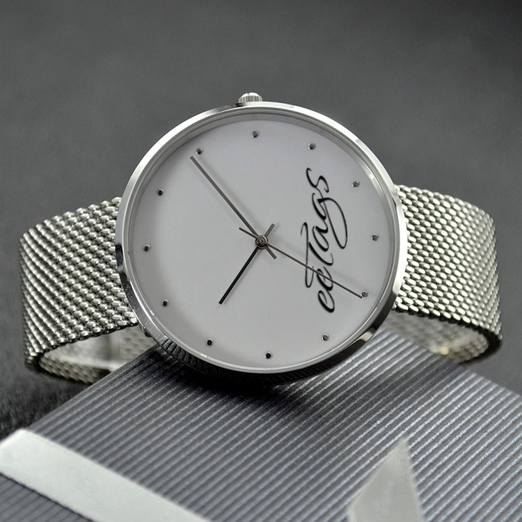 eeTags 30 Meters Waterproof Quartz Watch With Casual Stainless Steel Band