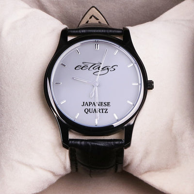 EETAGS Quartz Fashion Watch With Black Genuine Leather Band