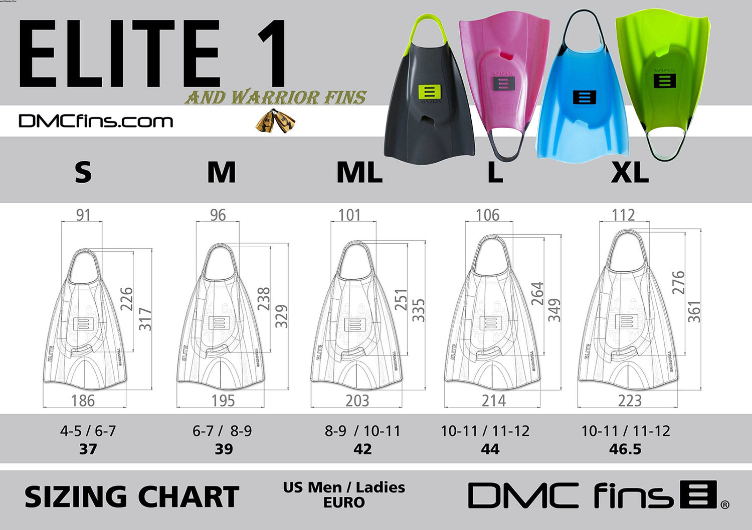 DMC Size Chart
