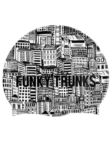 Funky Trunks Silicone Swim Cap - City Shadows