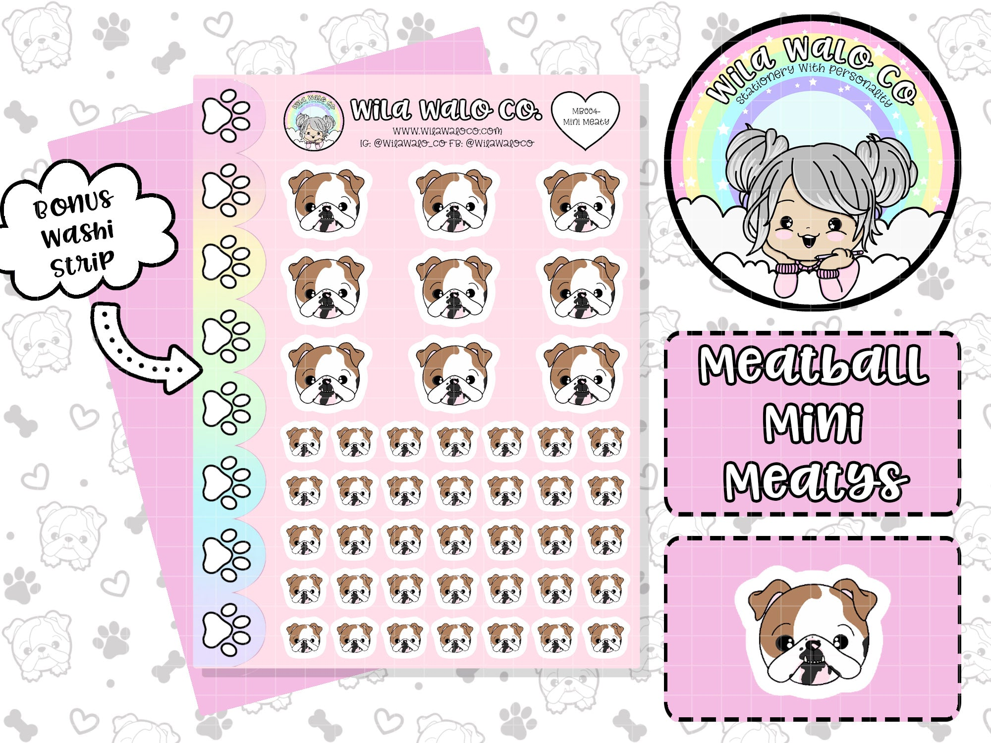 wilawaloco Meatball the english bulldog planner sticker icons
