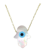 Load image into Gallery viewer, Hamsa Evil Eye Opal Necklace