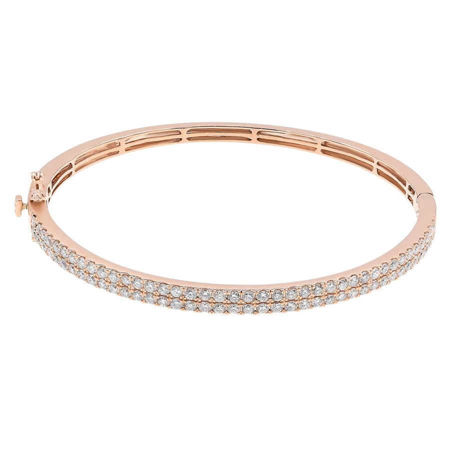14k Rose Gold 2-Row Diamond Cuff Bangle 1.98ctw