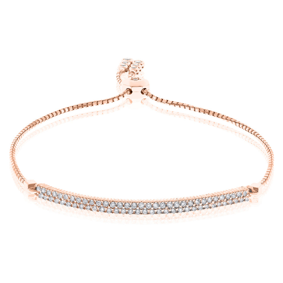18k Rose Gold Diamond Bracelet 0.58ctw