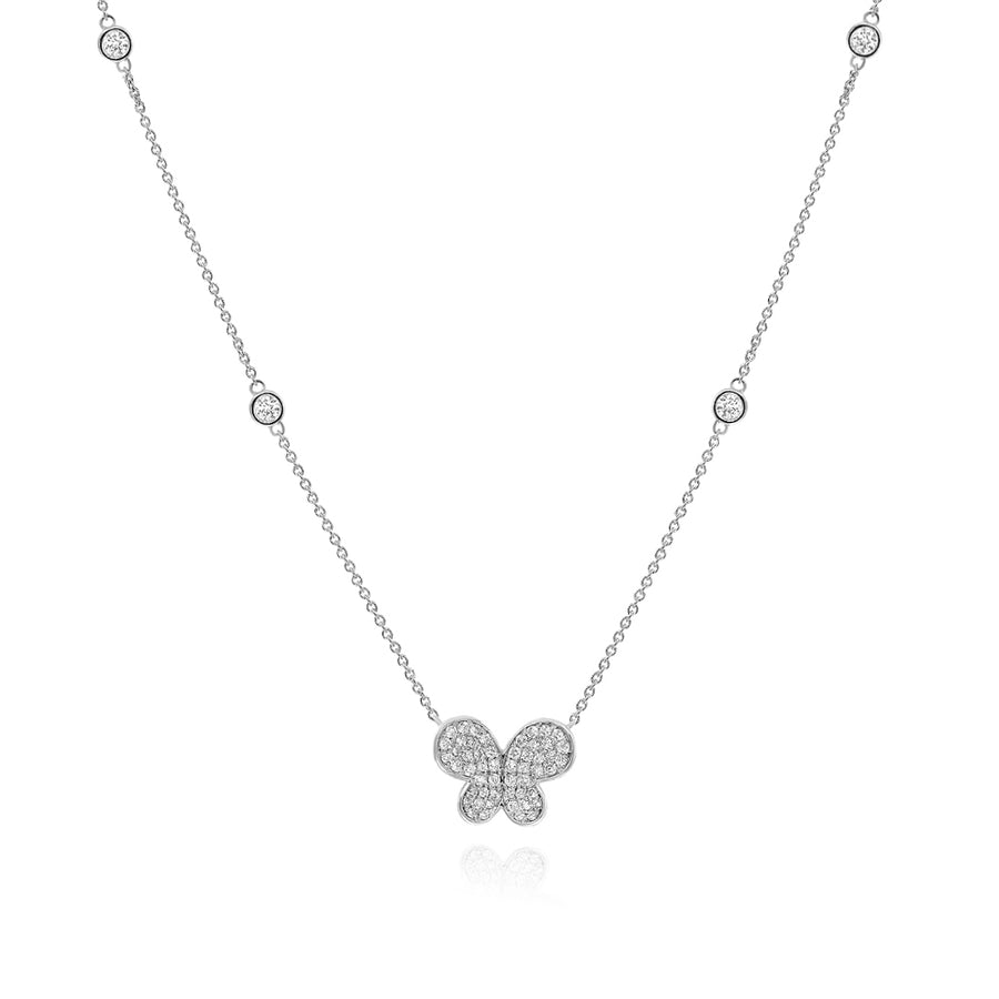 18k White Gold Diamond Buttery Fly Pendant & Chain