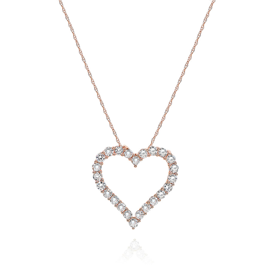 18k Rose Gold Diamond Heart Charm 1.23ctw