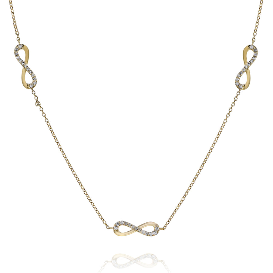 18k Yellow Gold Ladies Diamond Infinity Link Chain 0.82ctw