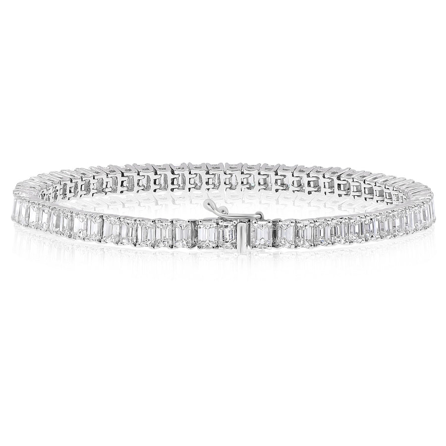 18k White Gold Emerald Cut Diamond Tennis Bracelet 10.25ctw