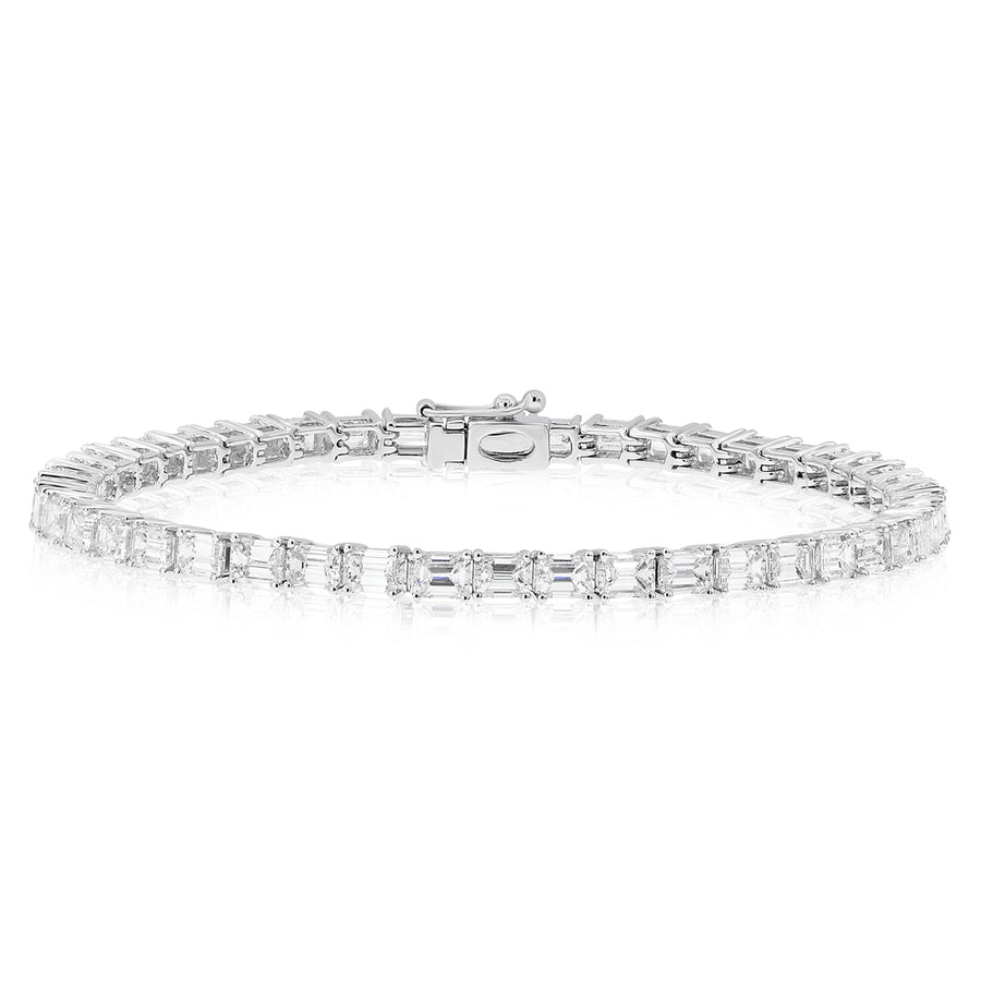 18k White Gold Emerald Cut Tennis Bracelet 9.39ctw