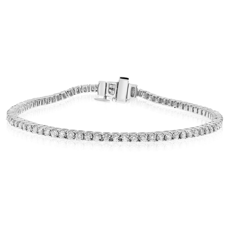 14k White Gold Diamond Tennis Bracelet 1.00ctw