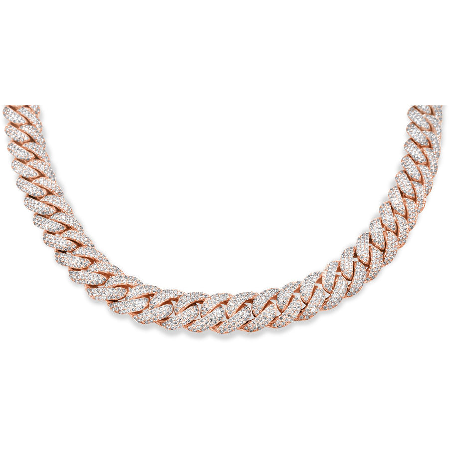 14k Rose Gold Diamond Cuban Chain 32.00ctw