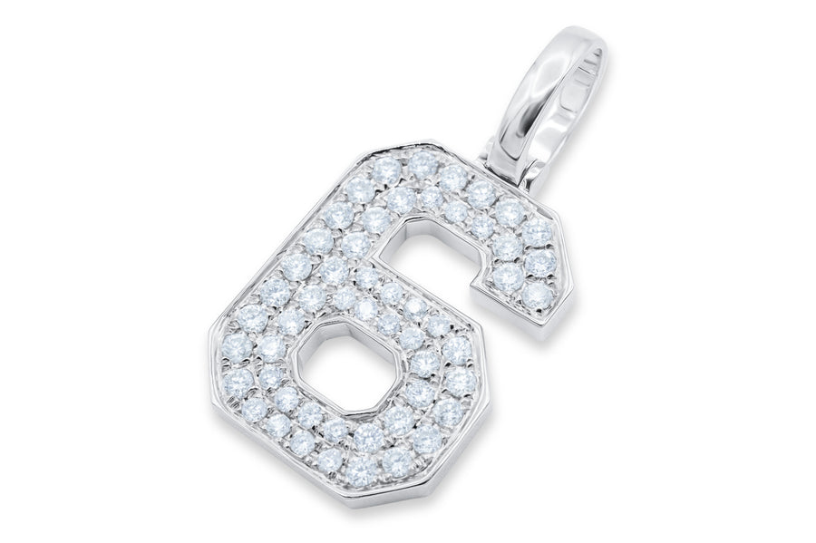 10k White Gold Number Pendant 0.67ctw