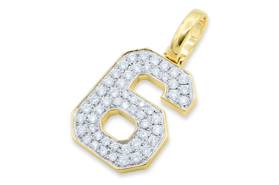 10k Yellow Gold Number Pendant 0.67ctw