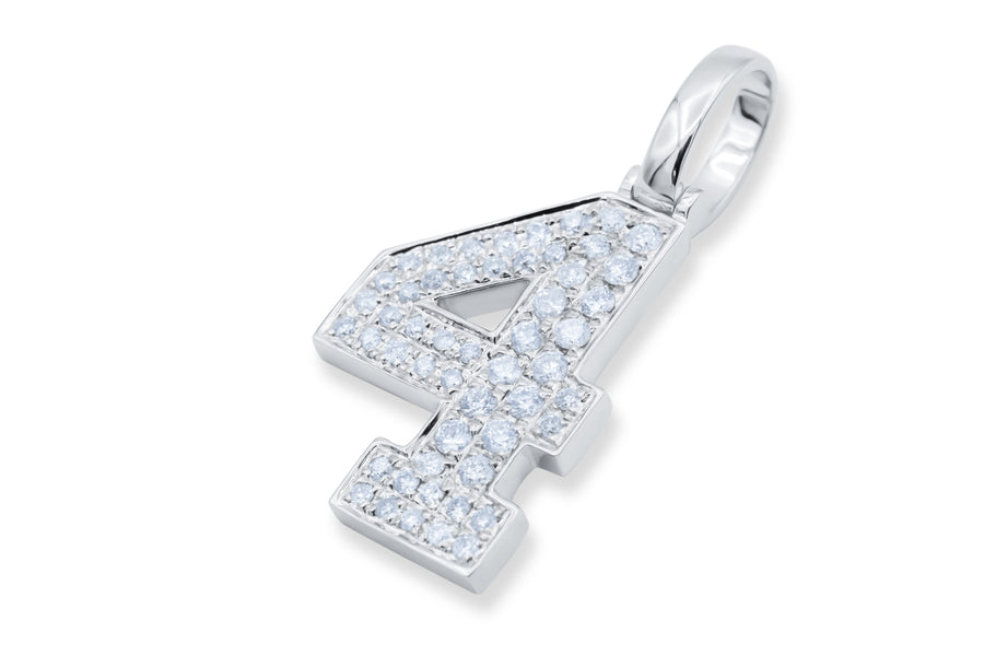 10k White Gold Number Pendant 0.44ctw