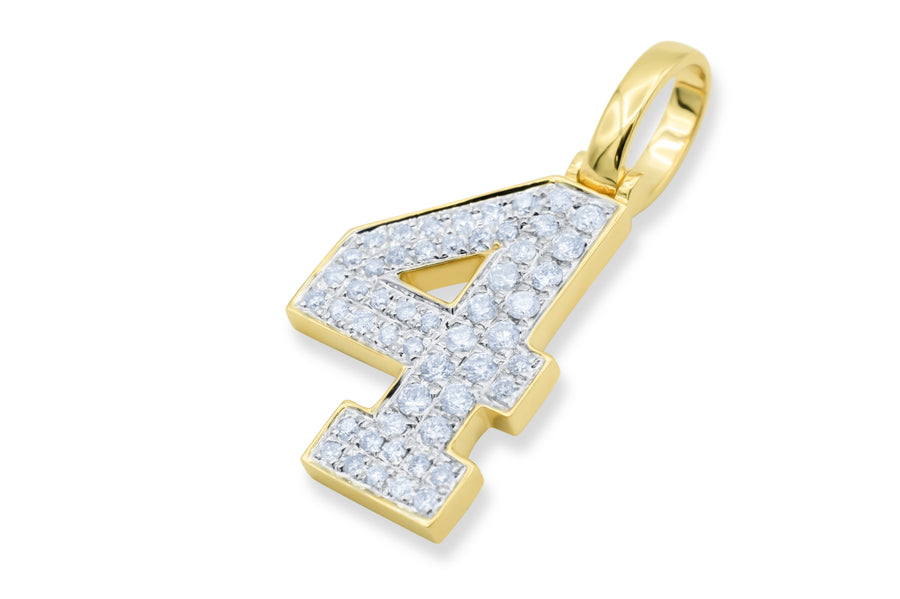 10k Yellow Gold Number Pendant 0.44ctw