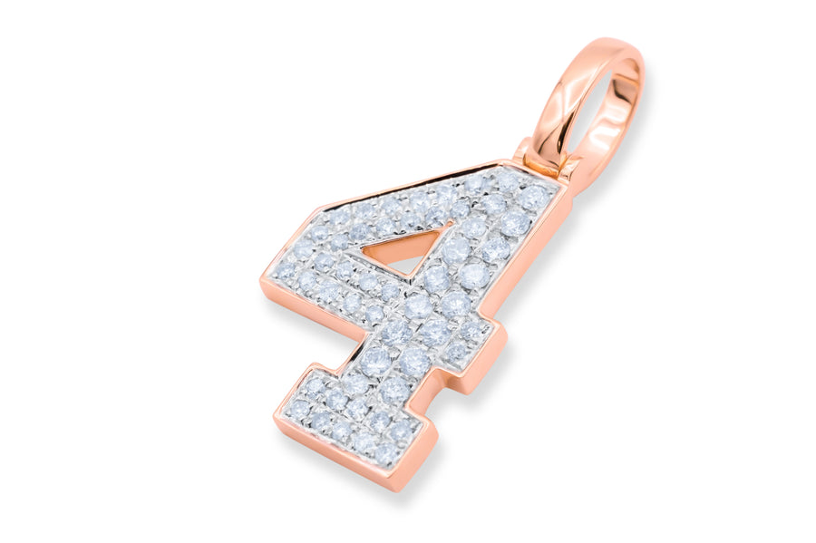 10k Rose Gold Number Pendant 0.44ctw
