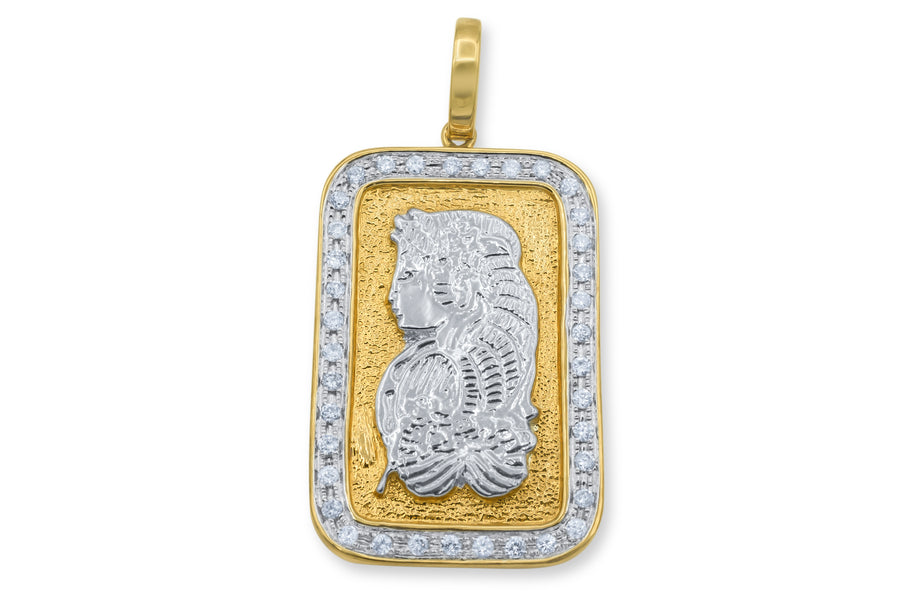 10K Solid Yellow Gold Bar Diamond Pendant 0.59ctw