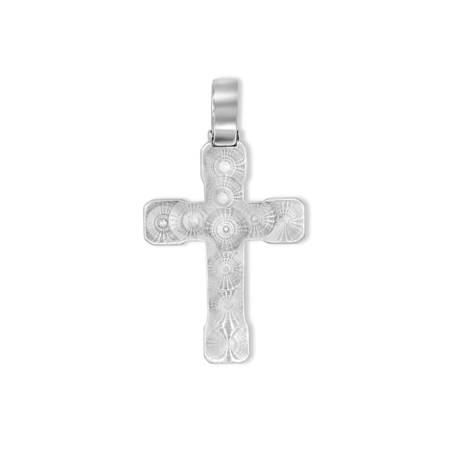 14k White Gold Baguette Diamond Cross 4.80ctw