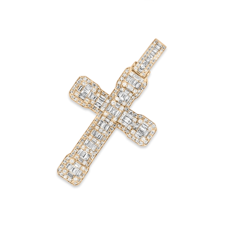 14k Yellow Gold Baguette Diamond Cross 4.80ctw