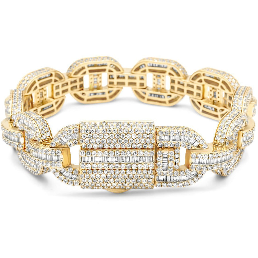 14k Yellow Gold Baguette & Round Diamond Mariner Link 18.25ct