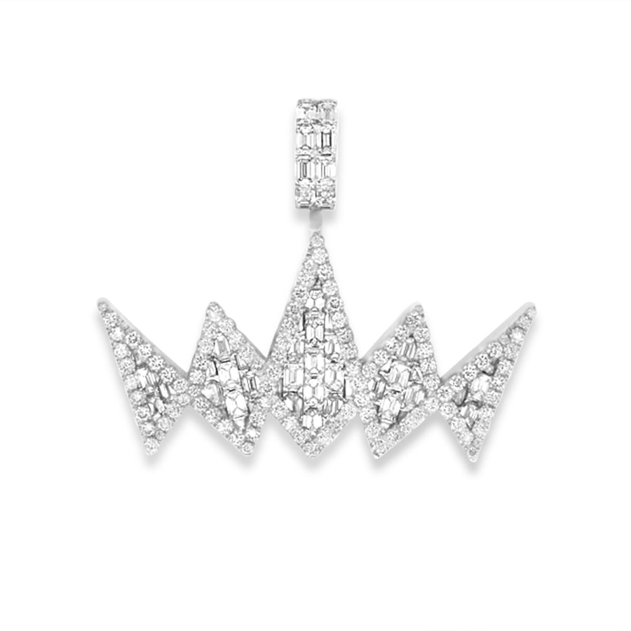 14k White Gold Baguette Diamond Crown Pendant 7.20ctw