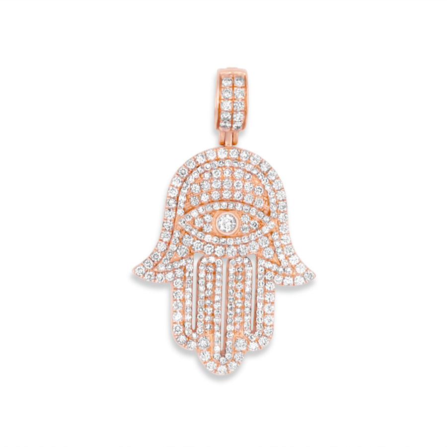 14k Rose Gold Diamond Hamsa 2.90ctw