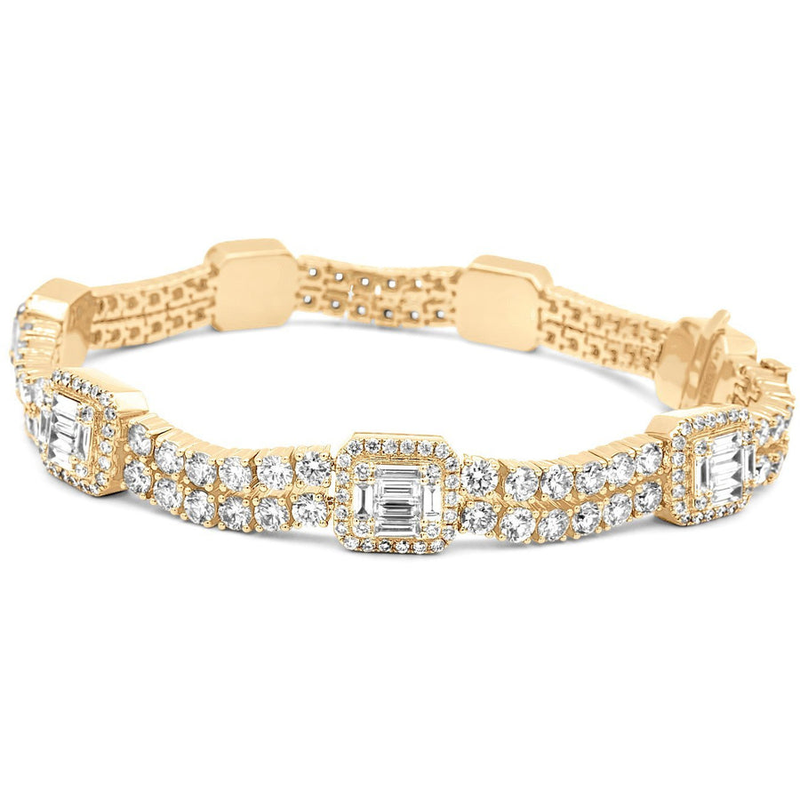 14k Yellow Gold Baguette & Round Diamond Tennis Bracelet