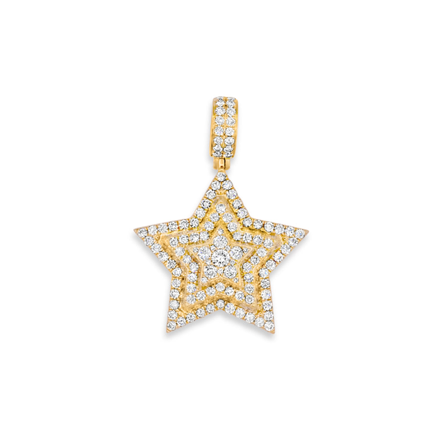 14k Yellow Gold Diamond Star Pendant 2.90ctw