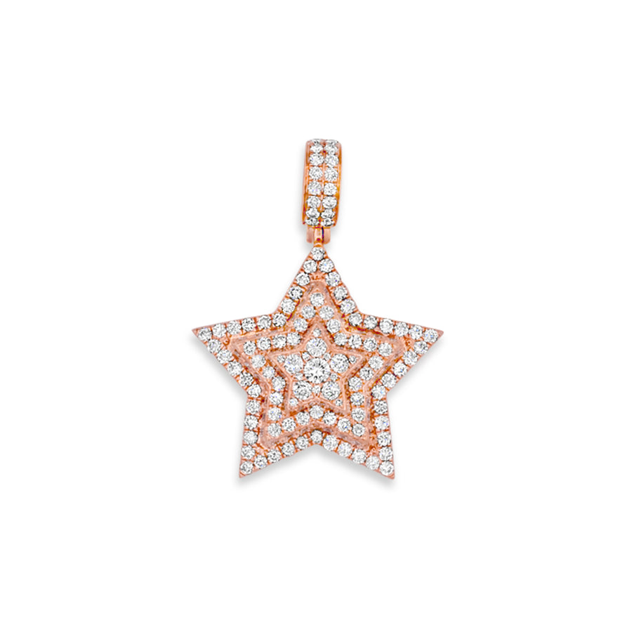 14k Rose Gold Diamond Star Pendant 2.90ctw