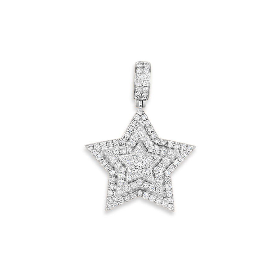 14k White Gold Diamond Star Pendant 2.90ctw