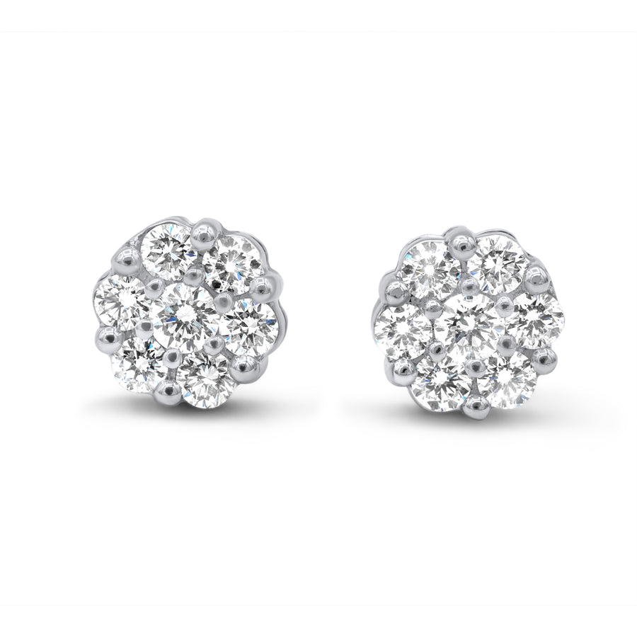 14k White Gold Diamond Cluster Earrings 1.95ctw
