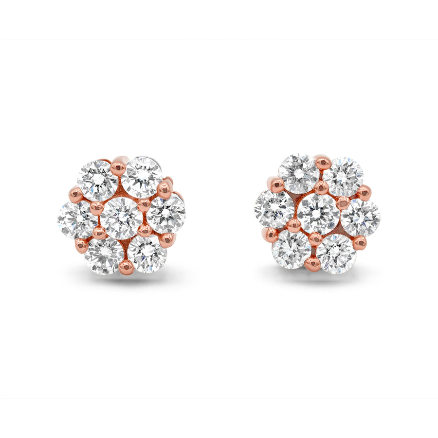 14k Rose Gold Diamond Cluster Earrings 3.75ctw