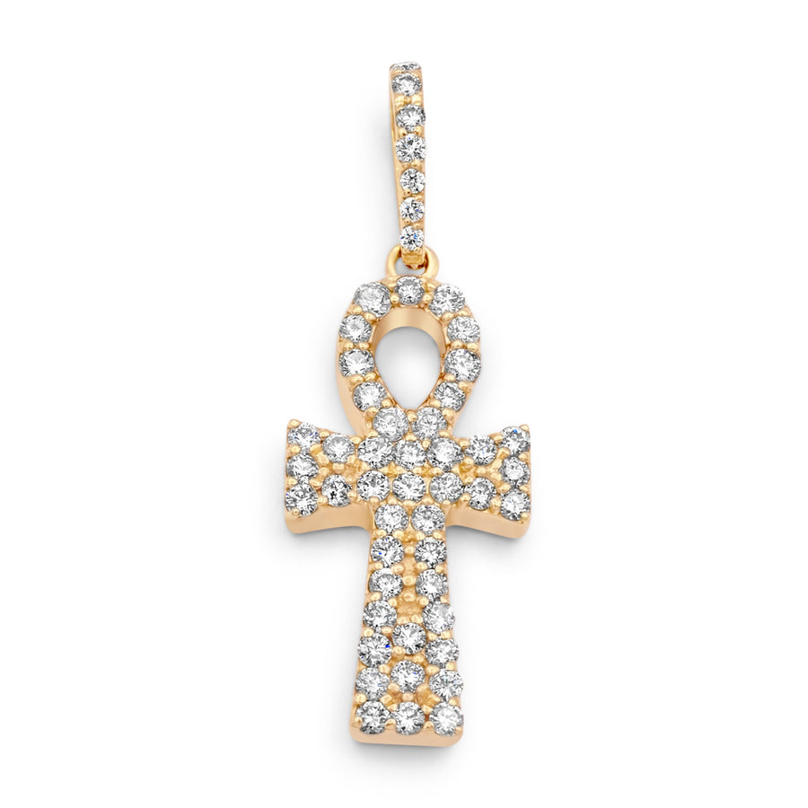 14k Yellow Gold Diamond Ankh 2.30ctw