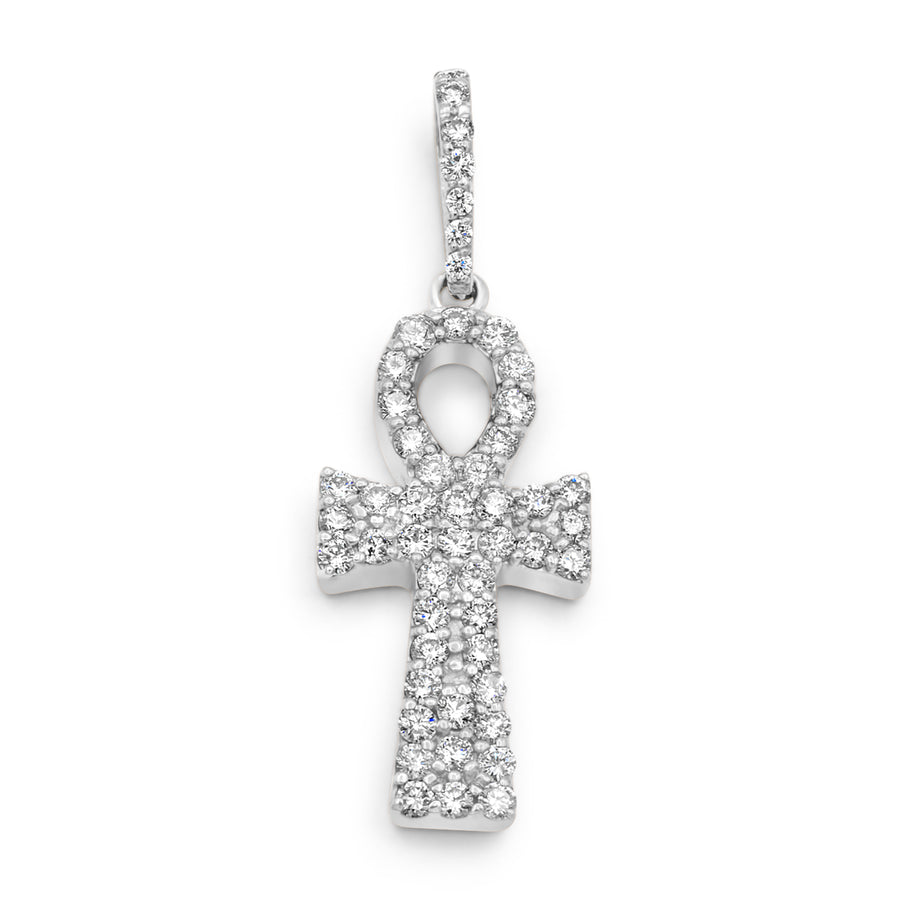 14k White Gold Diamond Ankh 2.30ctw