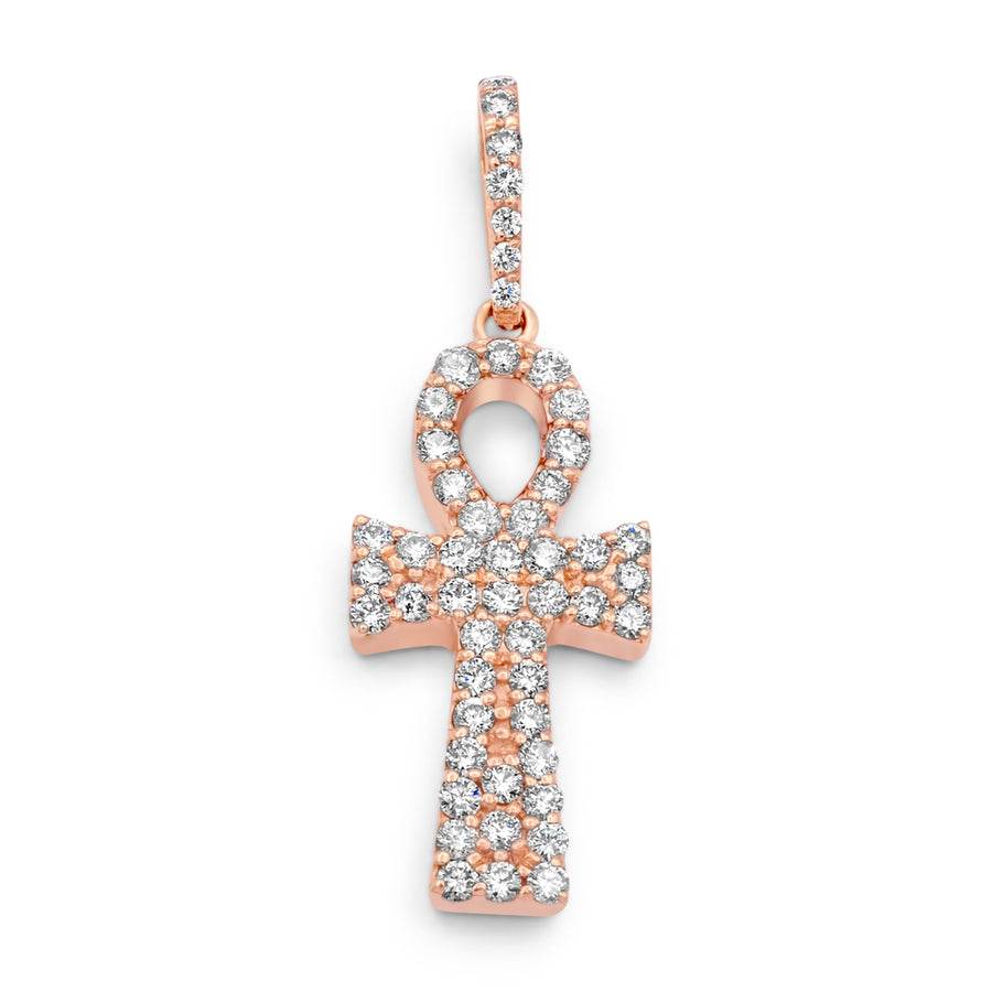 14k Rose Gold Diamond Ankh 2.30ctw