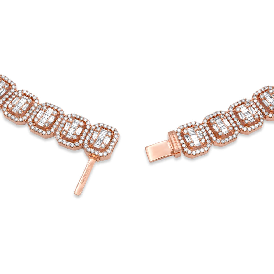 14k Rose Gold Baguette Diamond Chain 30.38ctw
