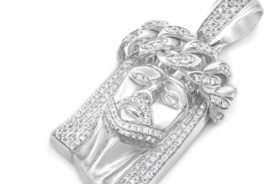 14k Solid White Gold Diamond Jesus Head 3.25ctw