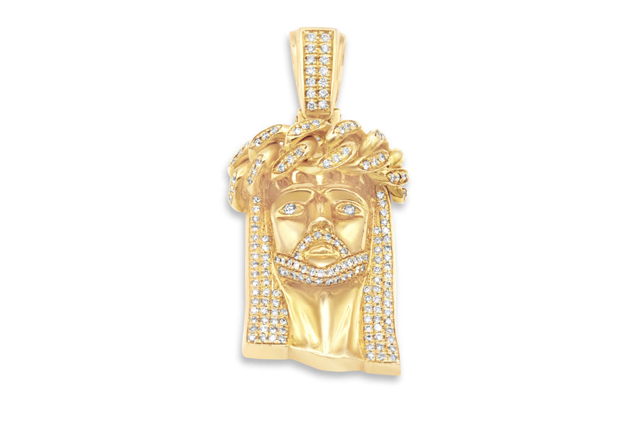 14k Solid Gold Diamond Jesus Head 3.25ctw