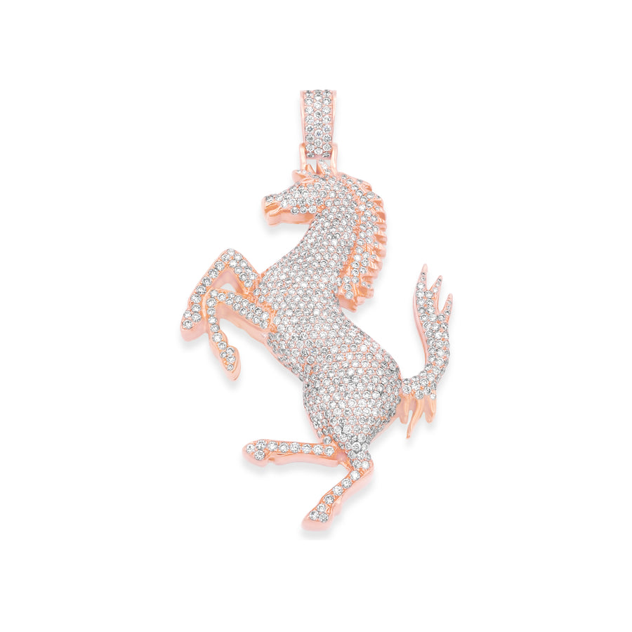 14k Rose Gold Stallion Pendant 5.80ctw