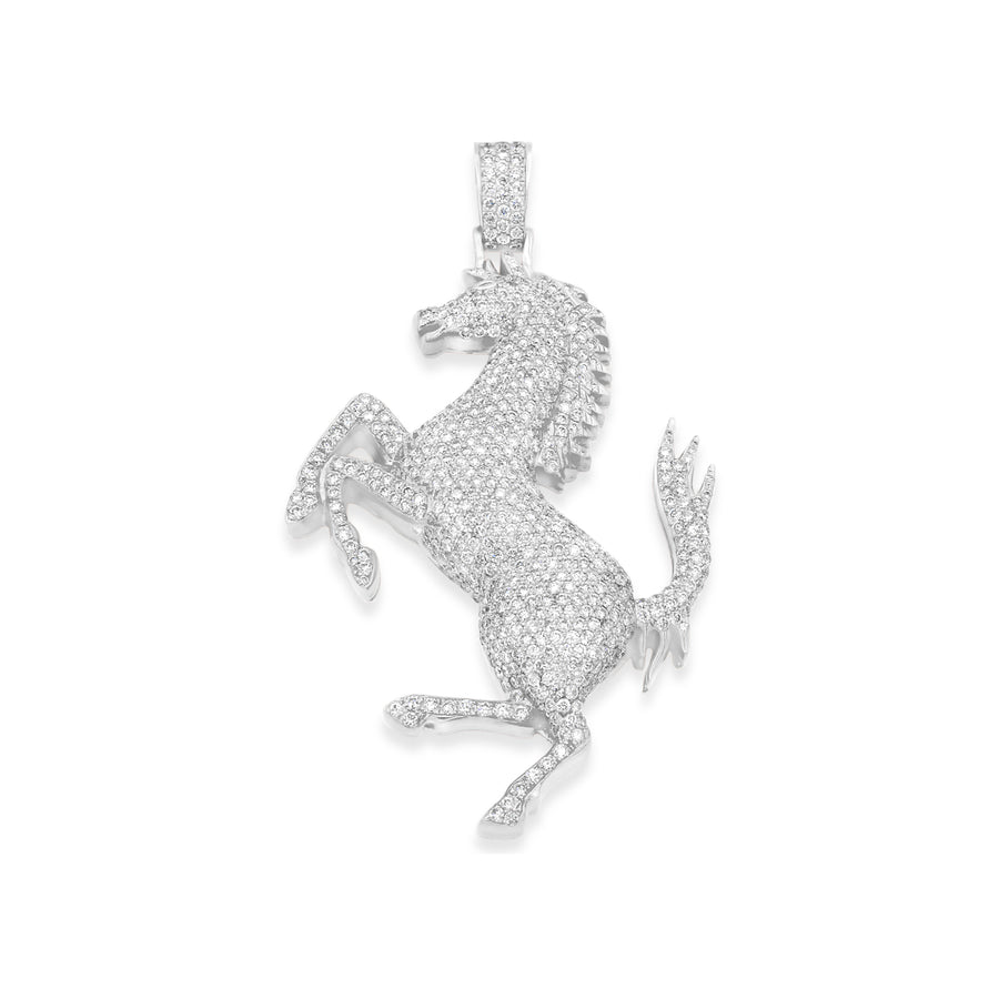 14k White Gold Stallion Pendant 5.80ctw