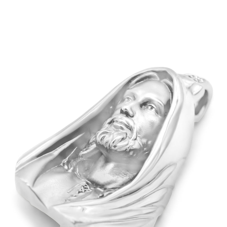 14k Solid White Gold Jesus Head