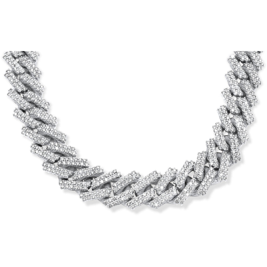 14k Solid White Gold Diamond Cuban Chain 34.25ctw