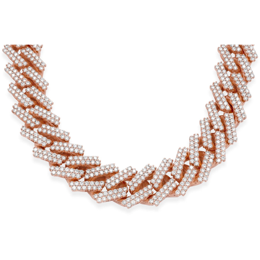 14k Solid Rose Gold Diamond Cuban Chain 34.25ctw