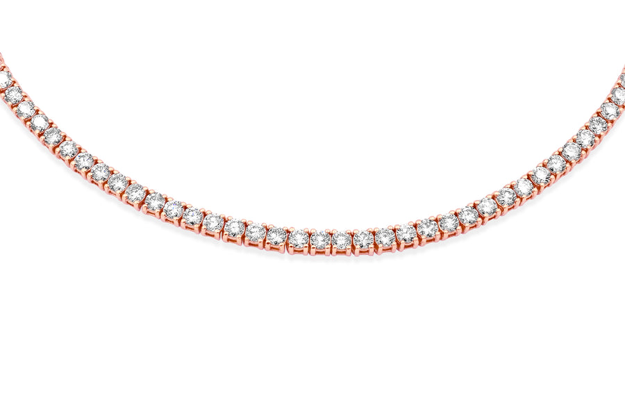14K Rose Gold 5-Pointer Tennis Chain
