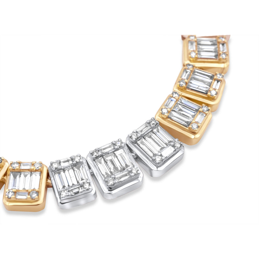 14k Two Tone Baguette Diamond Chain 16.47ctw