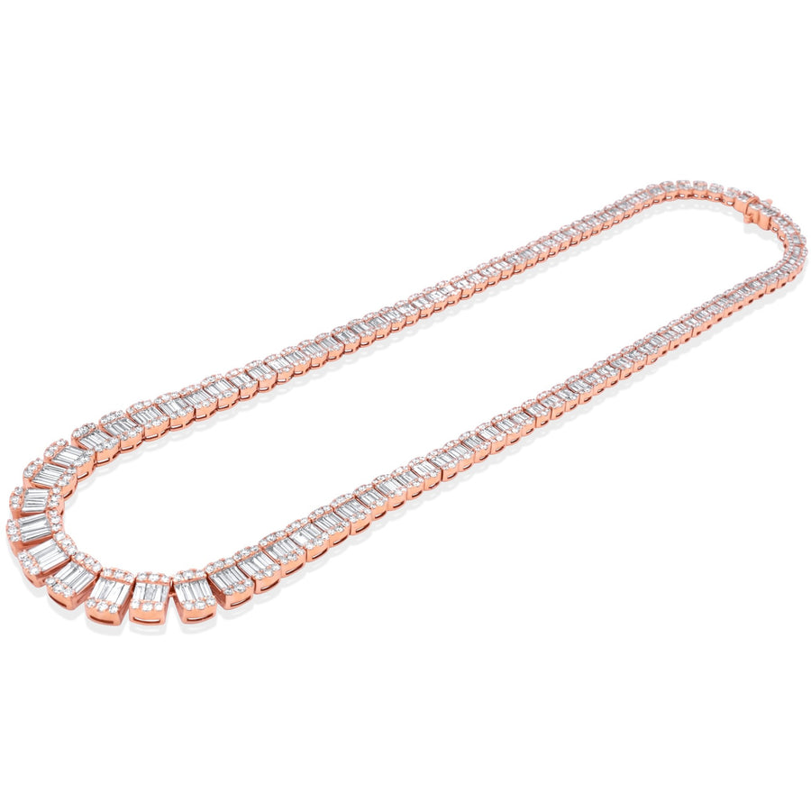 14k Rose Gold Diamond Baguette Chain 30.38ctw