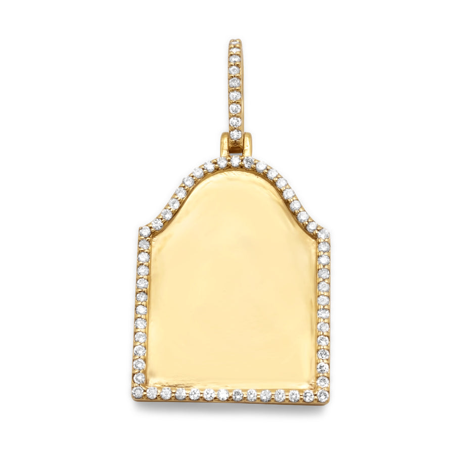 10K Yellow Gold Tombstone Picture Pendant 0.40Ctw